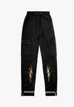LIGHTNING  - Cargo trousers - metallic black