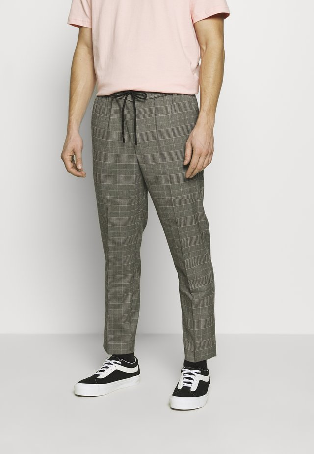 HAROLD TONAL CHECK PULL ON - Trousers - dark grey