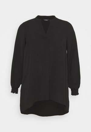NEHRU COLLAR BLACK WOVEN TUNIC - Tunic - black