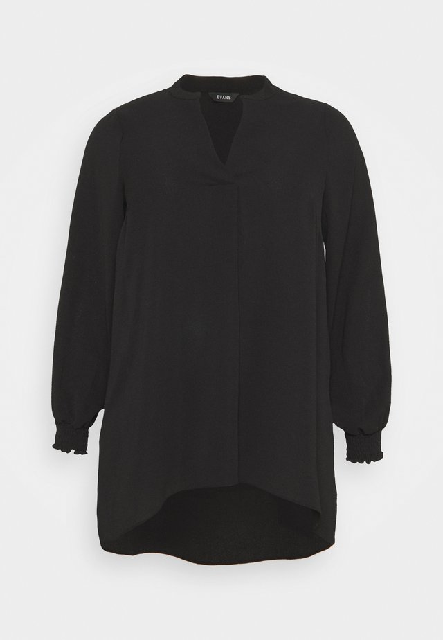 NEHRU COLLAR BLACK WOVEN TUNIC - Tuniek - black