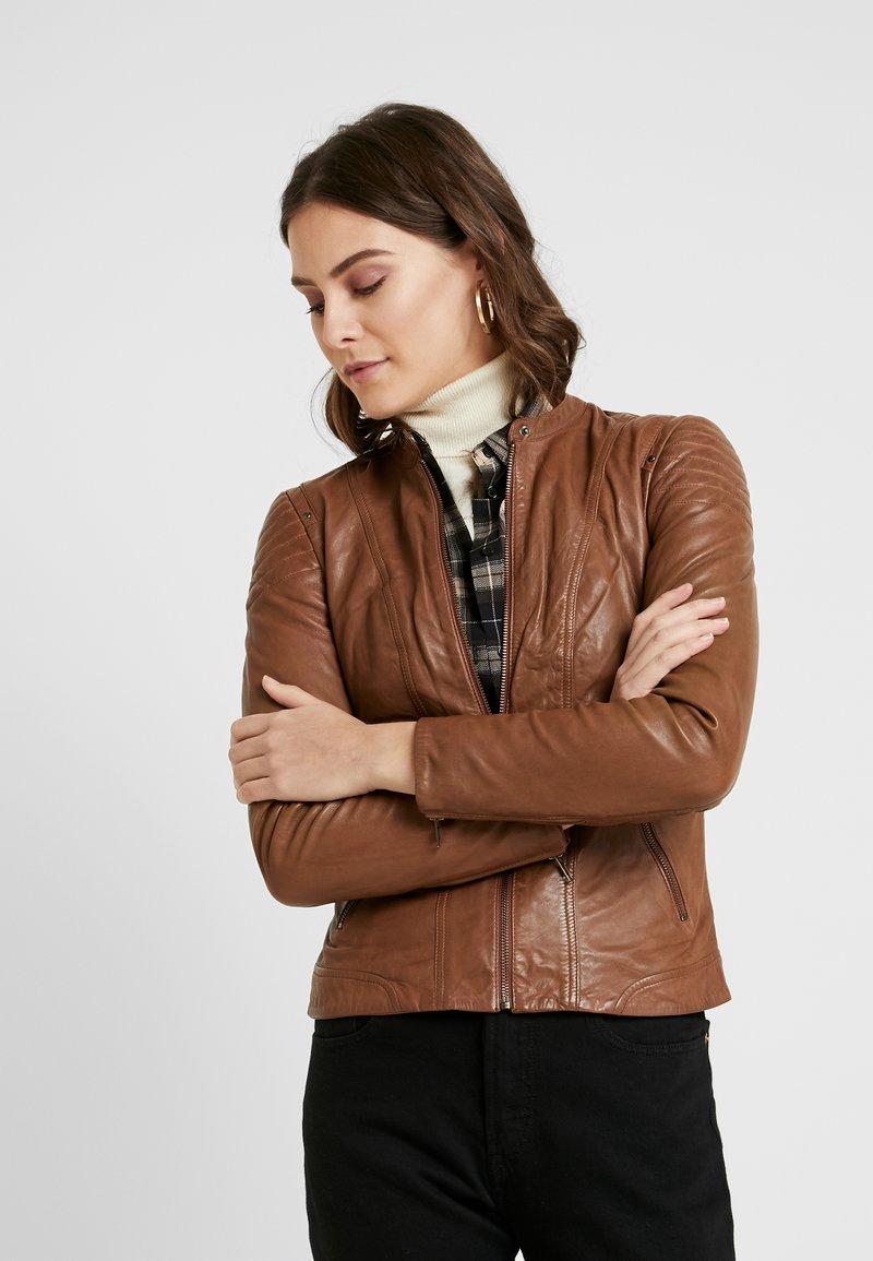 NAF NAF - CLIM - Leather jacket - cognac