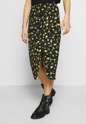 FLORAL MIDI SKIRT - Pencil skirt - black grungy / halftone yellow floral
