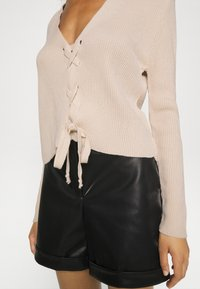 Missguided - LACE UP - Cardigan - beige - 5