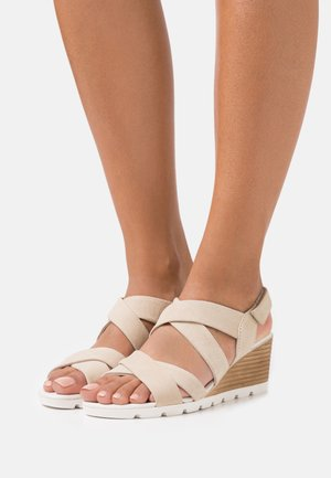 LEATHER - Wedge sandals - beige