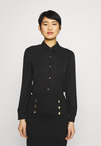 Semi sheer blouse - Button-down blouse - black