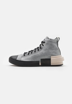 DISTORT UNISEX - Höga sneakers - ash stone/light orewood brown/lemon