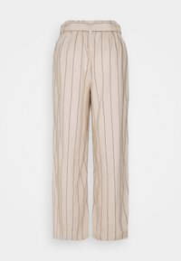 VILA TALL - VIKULIO CROPPED PANTS - Trousers - natural melange/black - 1