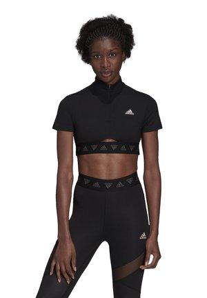 ZIP TRAINING T-SHIRT - T-shirts med print - black