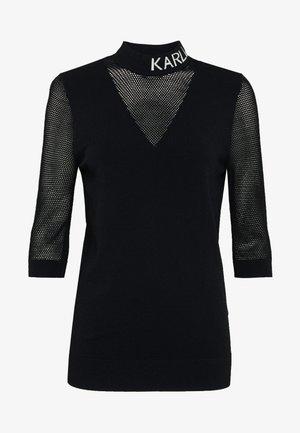 POINTELLE LOGO MOCKNECK - Long sleeved top - black