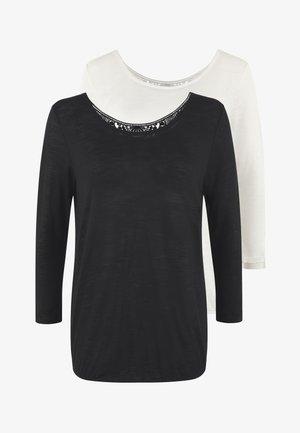 PACK 2 - Maglietta a manica lunga - schwarz + creme