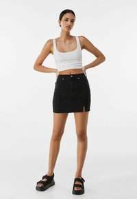 Bershka - Denim skirt - black - 1