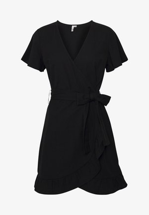 WRAPPED FRILL DRESS - Day dress - black