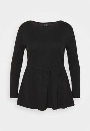 PEPLUM LONG SLEEVE - Long sleeved top - black