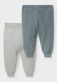 C&A - 2 PACK - Tracksuit bottoms - gray / green - 1