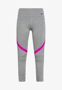 ONE CROP - Legginsy - iron grey/fire pink/black