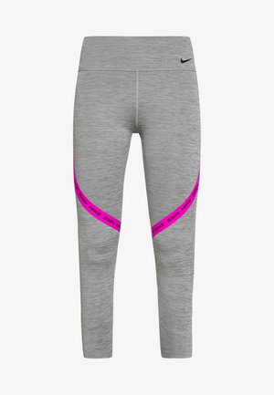 ONE CROP - Leggings - iron grey/fire pink/black