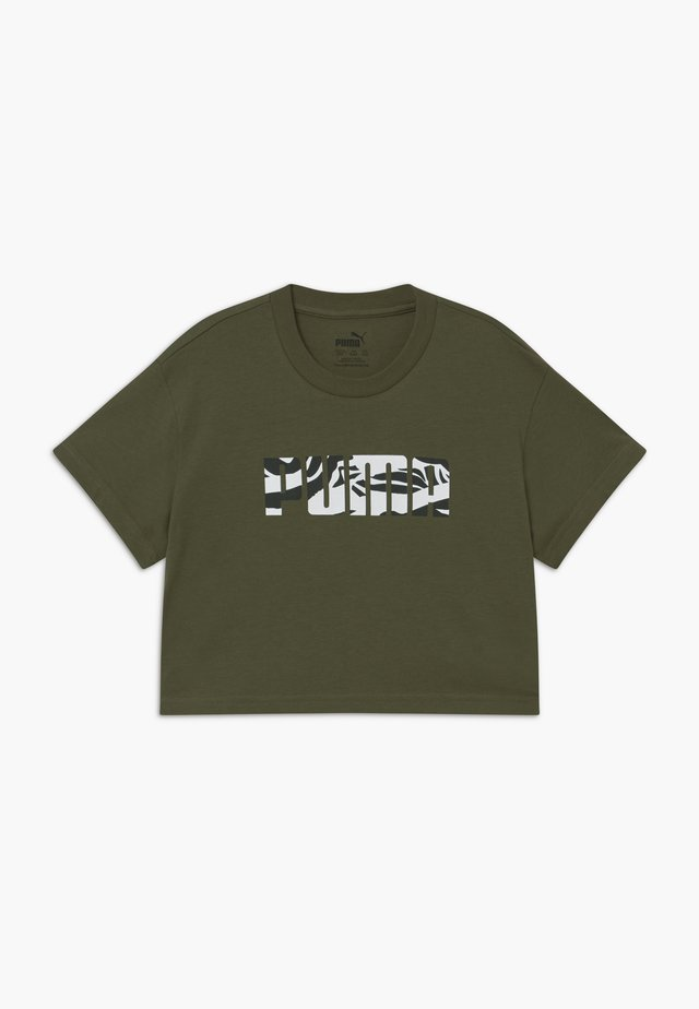 PUMA X ZALANDO GIRLS TEE - T-Shirt print - olive night