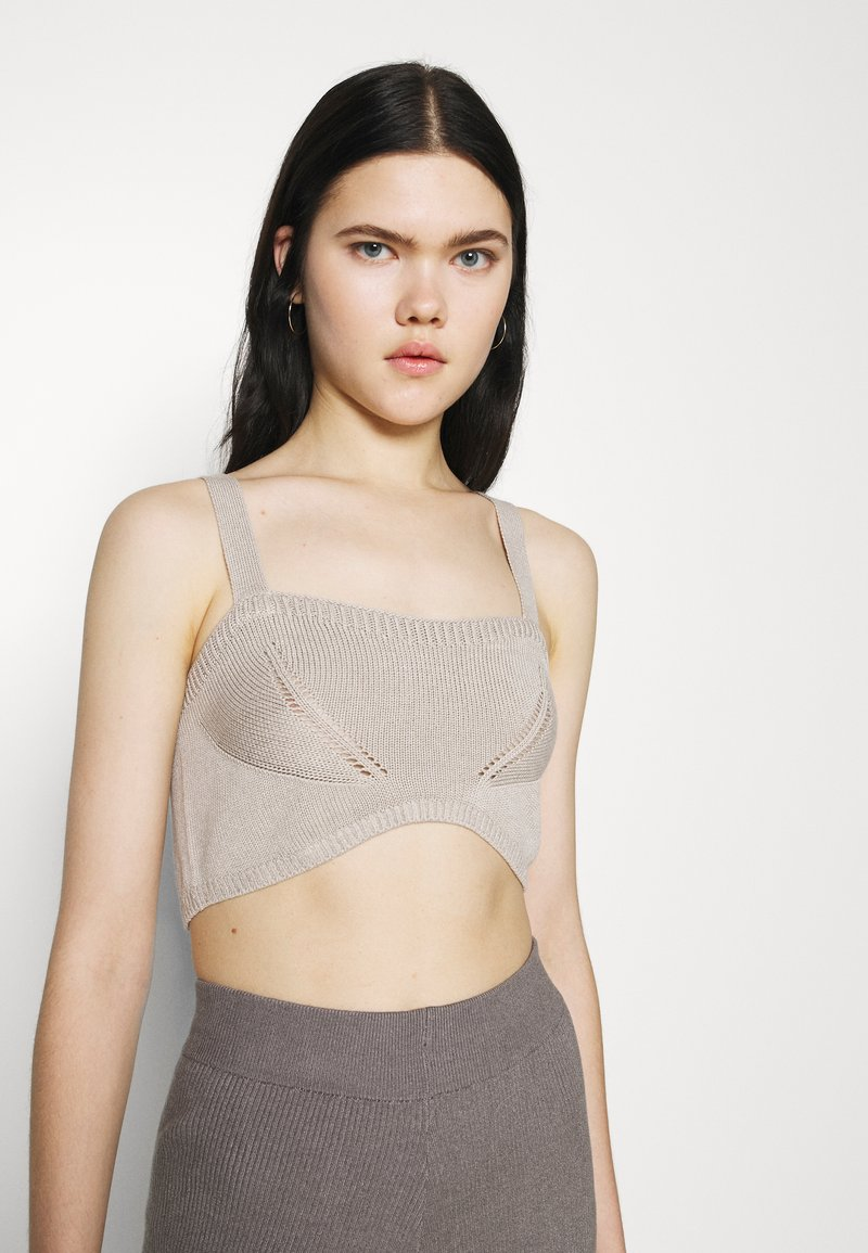 NU-IN - STEFANIE GIESINGER X nu-in WIDE STRAP KNITTED BRALETTE - Top - beige