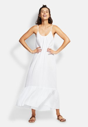 DOUBLE CLOTH MIDI SLIP - Beach accessory - white