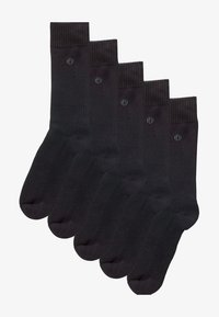 BLACK PLAIN COMFORT SOCKS FIVE PACK - Socks - black