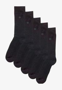 BLACK PLAIN COMFORT SOCKS FIVE PACK - Ponožky - black