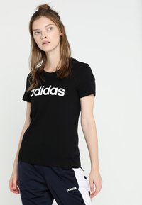 adidas Performance - ESSENTIALS SPORTS SLIM SHORT SLEEVE TEE - T-shirts med print - black/white - 0