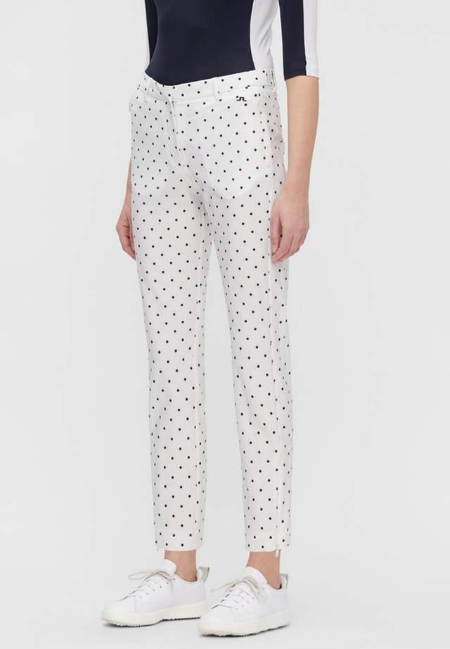Trousers - polka dot white navy