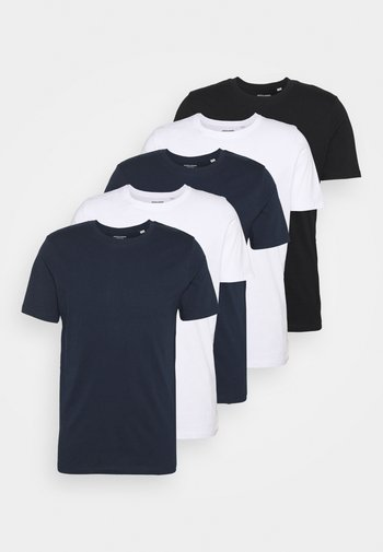JJEORGANIC BASIC TEE O-NECK 5 PACK - T-shirt - bas - black/white/navy