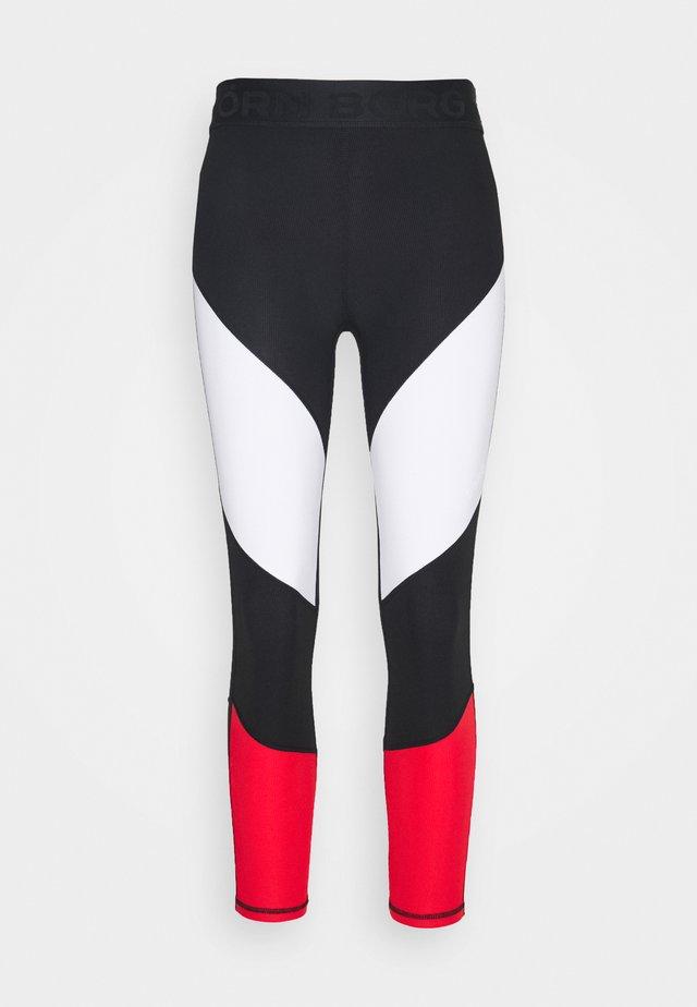CADENCE BLOCKED - Leggings - black/white/red