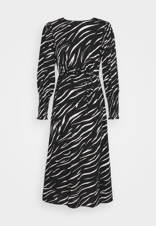 SHIRRED DETAIL ZEBRA MIDI DRESS - Day dress - black