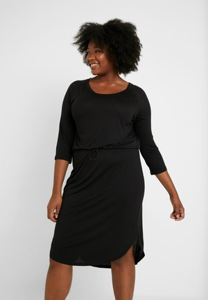 JRZAKAS 3/4 SLEEVE BELOW KNEE DRESS - Jerseyjurk - black