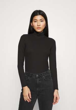 LONGSLEEVE SLIM MOCKNECK TEE - Long sleeved top - black