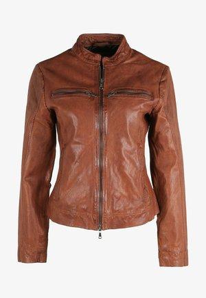 RIANA - Leather jacket - cognac