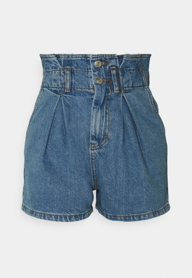 Topshop - NEW PAPERBAG - Shorts di jeans - blue denim