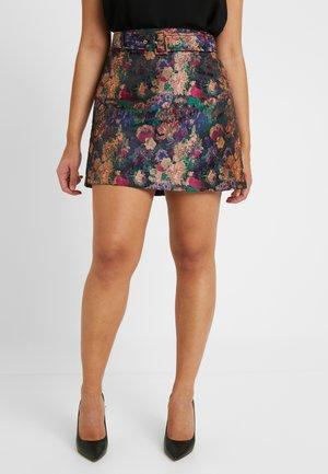 BELTED A LINE JACQUARD MINI SKIRT - A-line skirt - multi/black