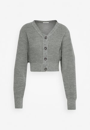 CROPPED WITH LOW V NECK AND PUFF LONG SLEEVES - Strikjakke /Cardigans - light grey marl