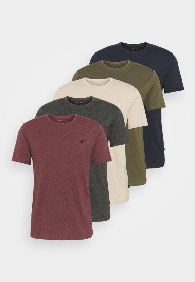 5 PACK - T-shirt basic - dark grey/dark blue/olive
