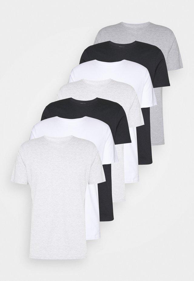 7 PACK - T-shirt basique - white/black/grey