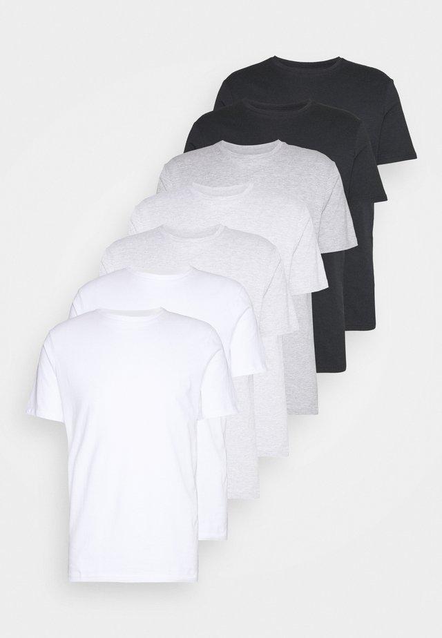 7 PACK - Basic T-shirt - white/black/grey