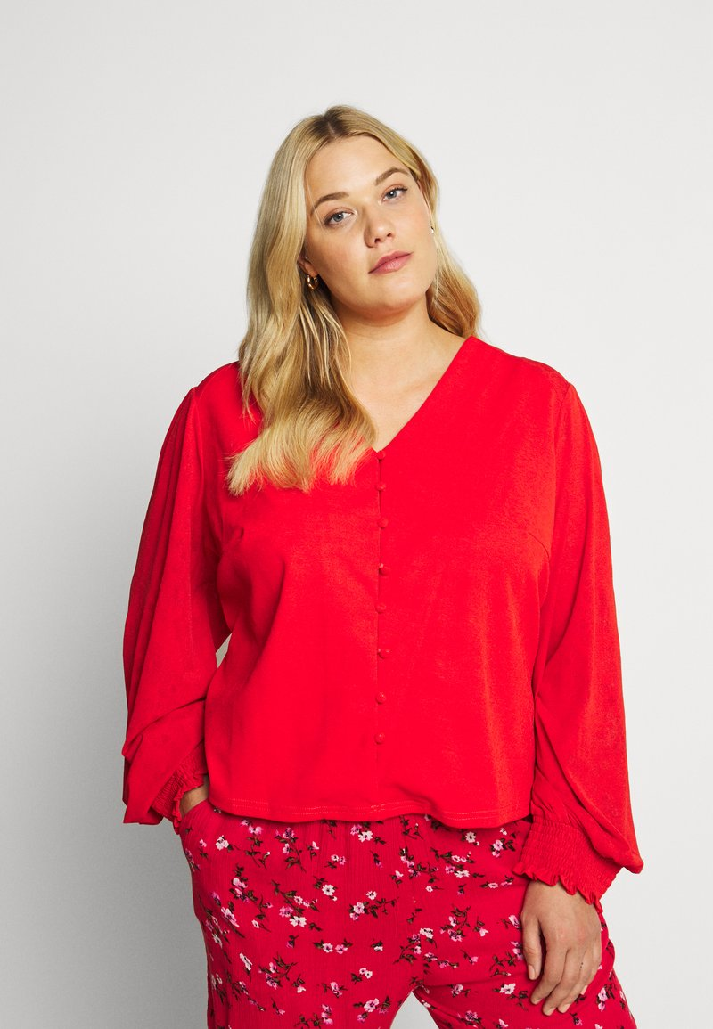 Lost Ink Plus - NECK BUTTON FRONT BLOUSE - Blůza - red