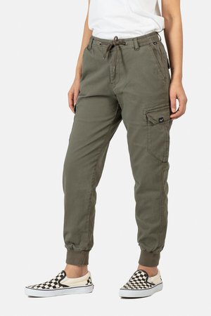 REFLEX WOMEN RIB CARGO - Trousers - olive