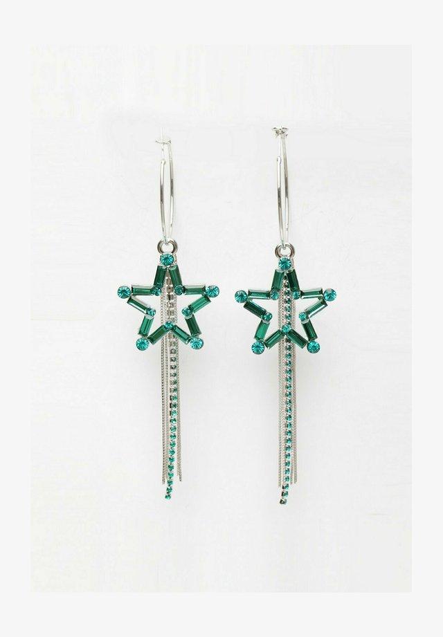 CRYSTAL STUDDED STAR LONG PIERCED - Boucles d'oreilles - green