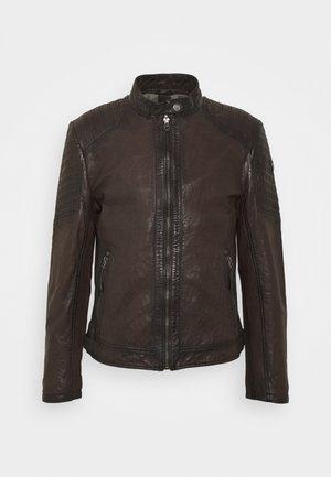 GMDAMION - Kožená bunda - dark brown
