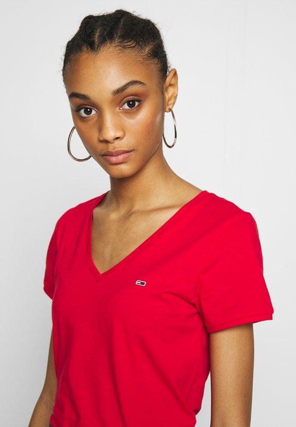 Tommy Jeans SHORTSLEEVE STRETCH TEE - T-shirt basic - deep crimson Kolor jednolity Odzież Damska QZBE VA 7