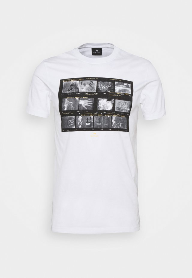 MENS SLIM FIT NEGATIVES - Print T-shirt - white