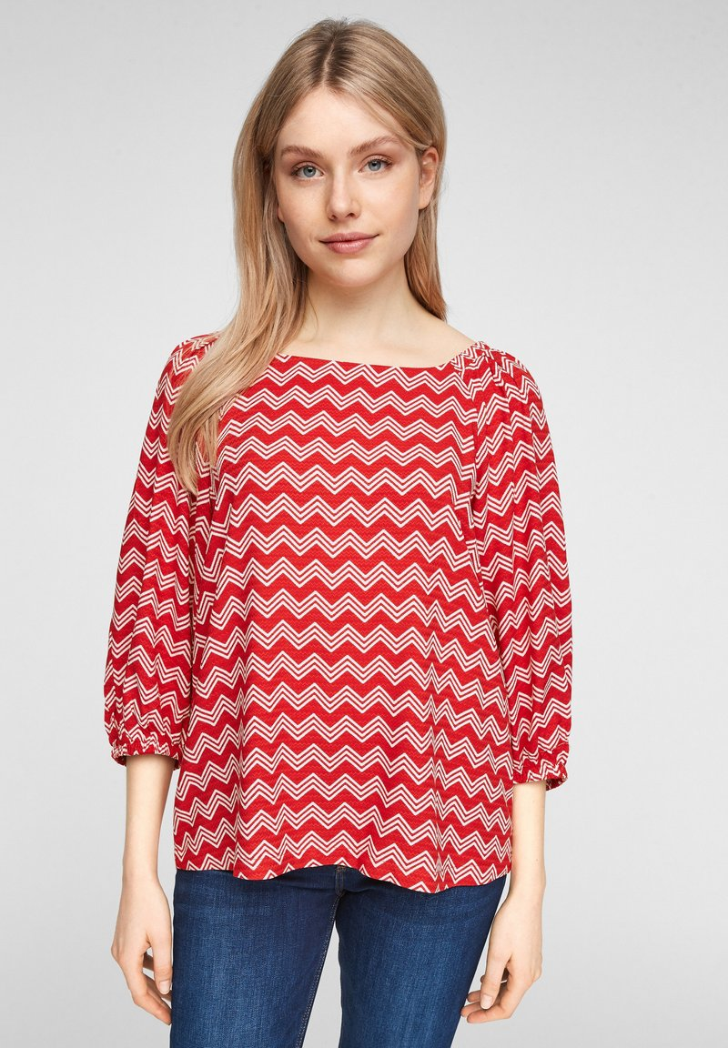 s.Oliver - Blouse - red zic zac stripes