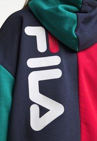 Fila Plus - BAYOU BLOCKED HOODY - Hoodie - black iris/true red/teal green/aurora - 6