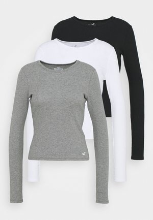 CREW  3 PACK - Langærmede T-shirts - white/grey/black