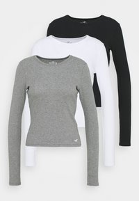 Hollister Co. - CREW  3 PACK - Långärmad tröja - white/grey/black - 0