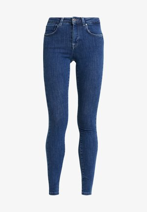 ONLPOWER MID PUSH UP - Skinny-Farkut - dark blue denim